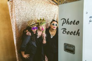 Bella Bliss Wedding Showcase – White Printz Photo Booth with Gold Glitter Backdrop